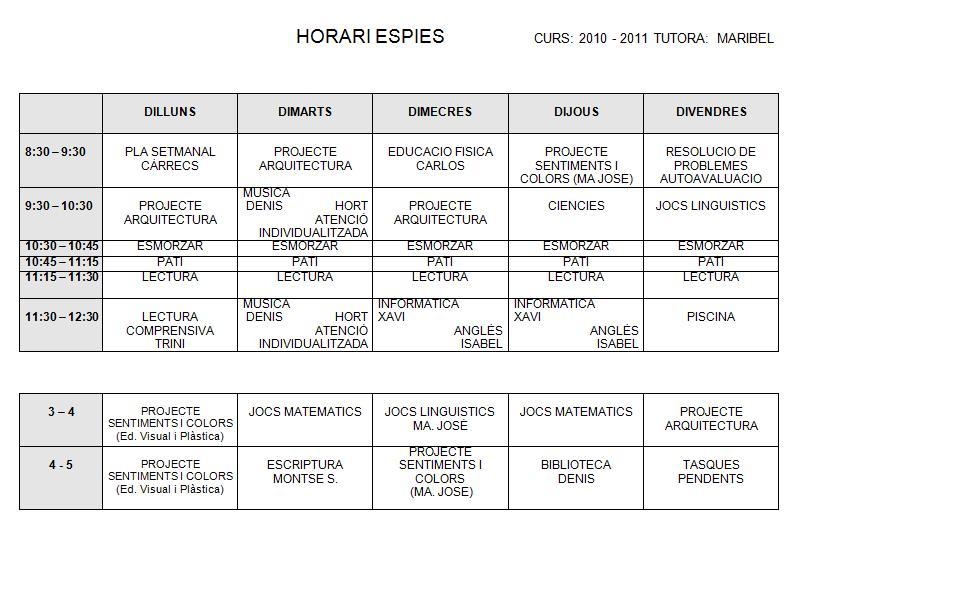 HORARI ESPIES