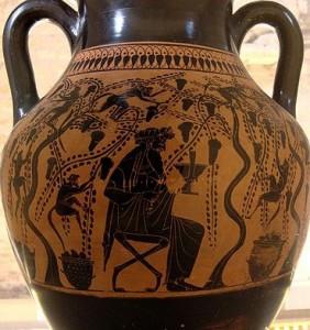 Dionís fent la verema amb els sàtirs