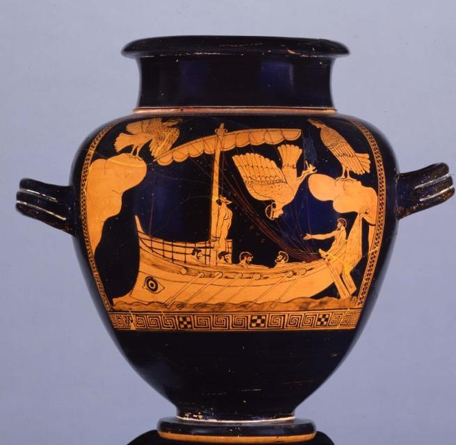 Ulisses i les sirenes: peça de ceràmica àtica; 480–470 a. C. Museu Britànic.