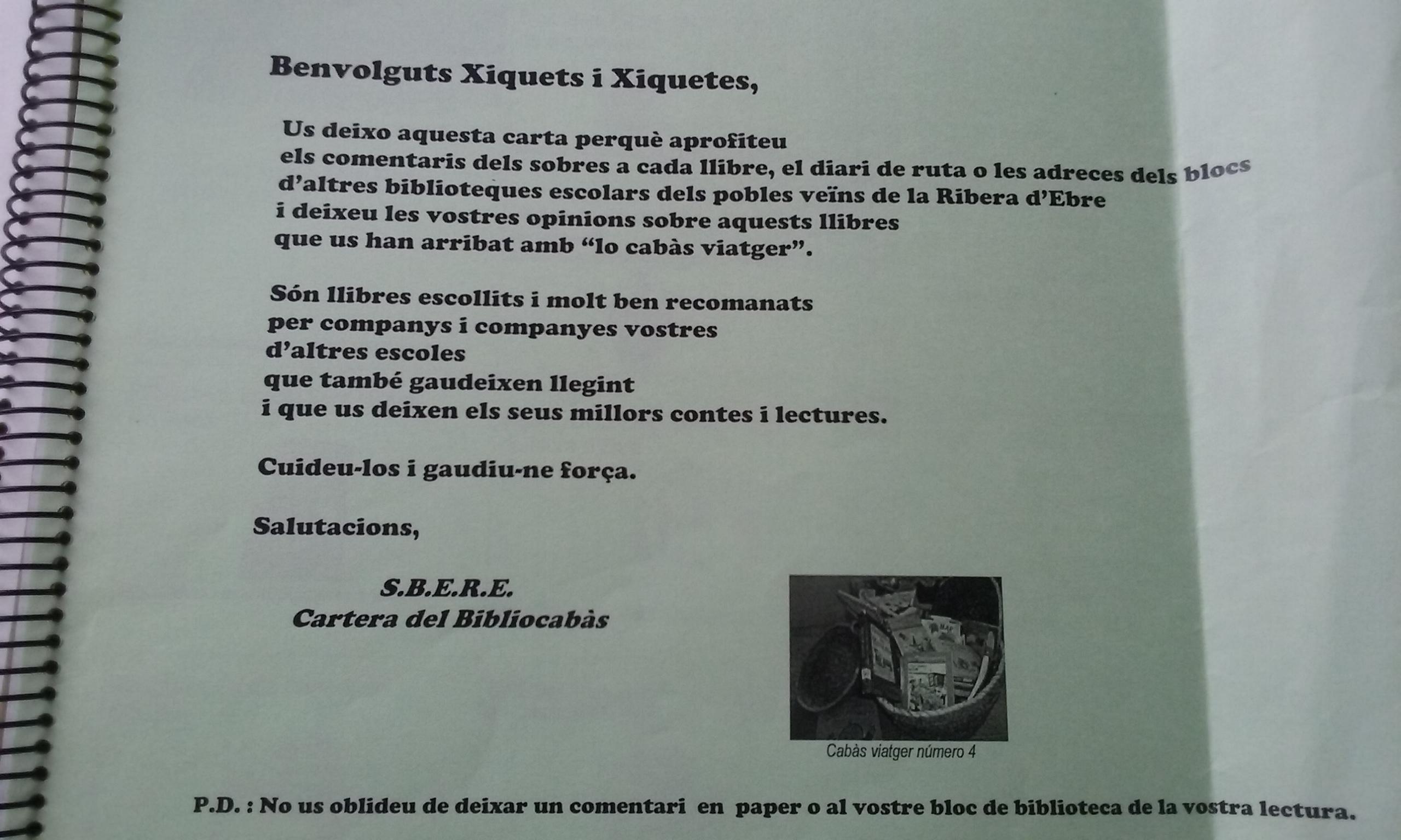 Diarir Ruta bibliocabas Ribera Carta Presentació