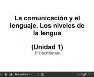 La comunicación y el lenguaje. Los niveles de la lengua
