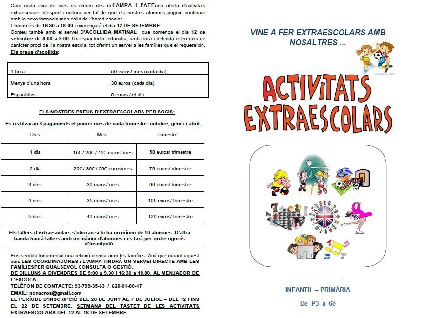 ACTIVITATS EXTRAESCOLARS CURS 17-18