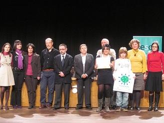 Representants de l'escola en l'acte de lliurament del distintiu d'Escola Verda