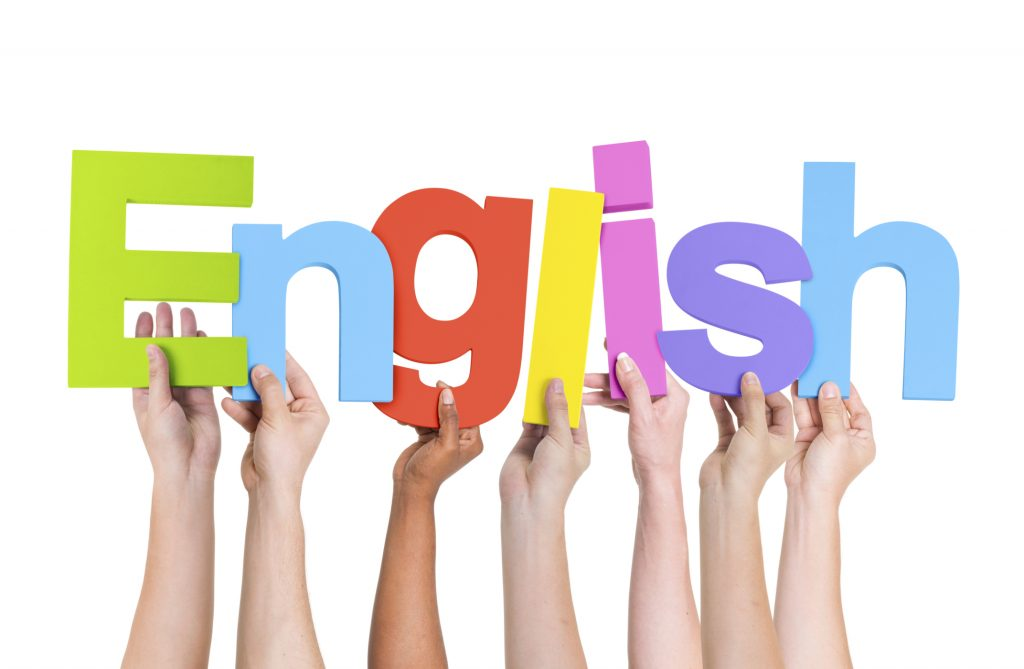 Diverse Human Hands Holding Word English