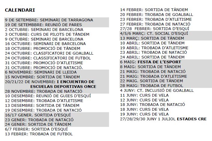 Llista d'activitats esportives 15-16