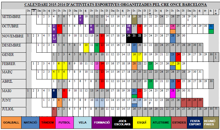 Calendari activitats esportives 15-16