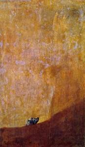 Perro hundido en la arena. Goya. Museo del Prado