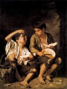 Esteban Murillo (1650-1655): Dos niños comiendo melón y uvas.