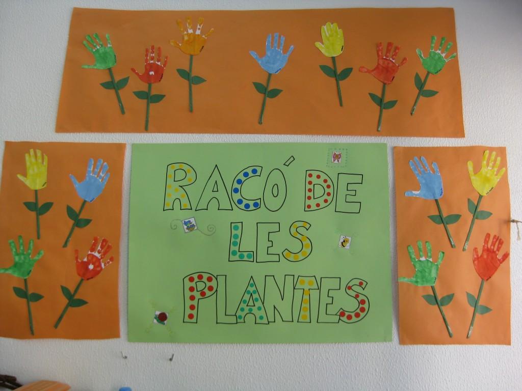 Us presentem el nostre racó de les plantes! Els nens de P4 i P5 estem estudiant els éssers vius. A més de les persones hi ha altres éssers vius: els animals i les plantes. Al nostre racó plantarem llenties i veurem cada dia com es desenvolupa la nostra planta. Hem decorat amb mans de molts colors perquè, com ja sabem, les flors poden ser de molts colors!