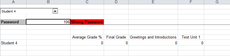 Gradebook 3 worng password