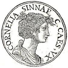 Moneda romana amb la imatge de Cornèlia