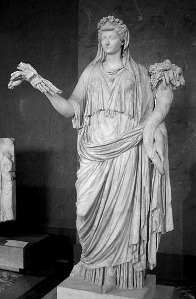 Escultura de Lívia caracteritzada com la deesa Ceres (agricultura, collites i fecunditat)