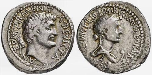 Monedes amb el retrat de Cleòpatra i Marc Antoni