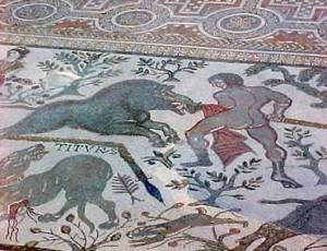 Mosaic representant una cacera romana