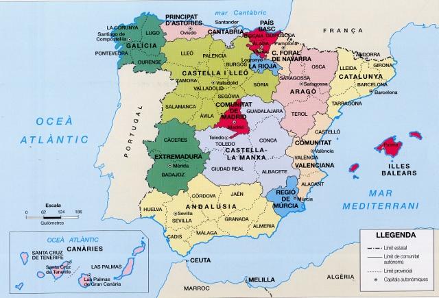 Resultado de imagen de mapa españa comunitats autonomes