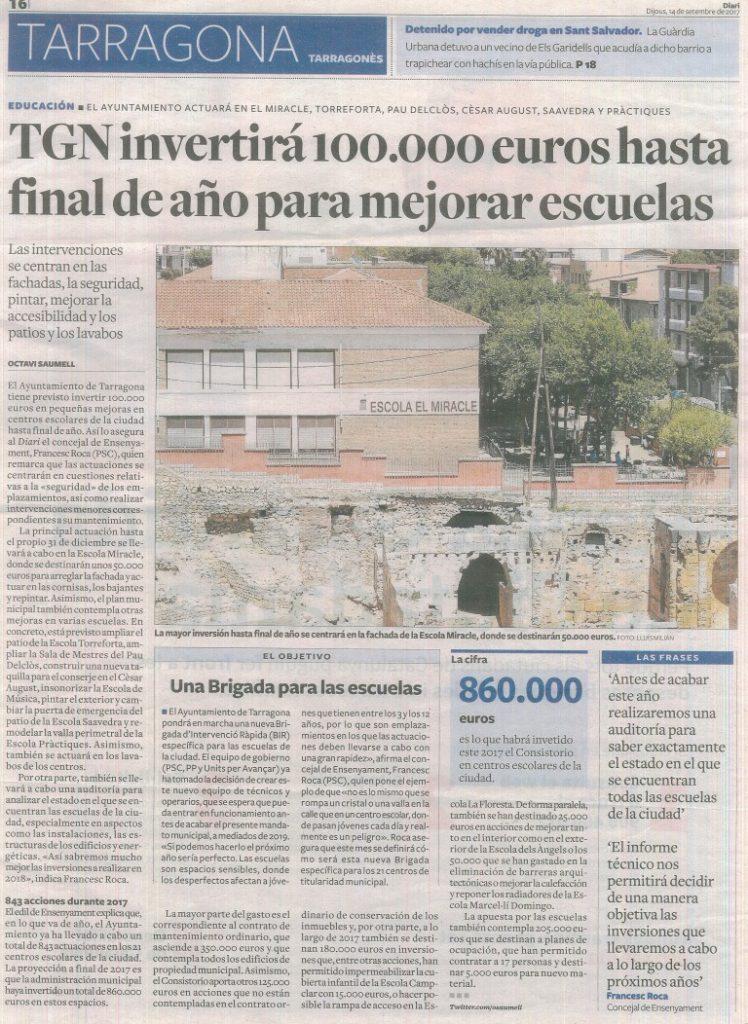noticia Diari Tarragona setembre 2017
