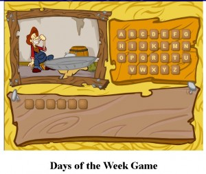 http://www.esolhelp.com/days-of-the-week-game/days-of-the-week-game.html
