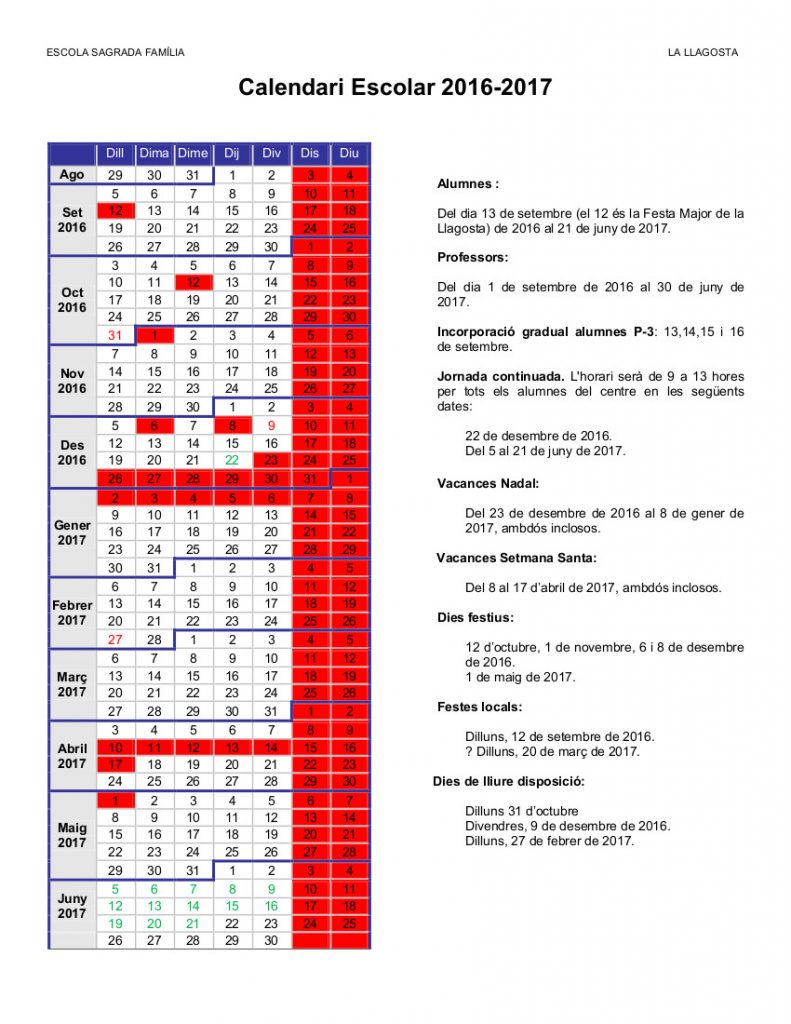 1 Calendari Escolar 2016-2017