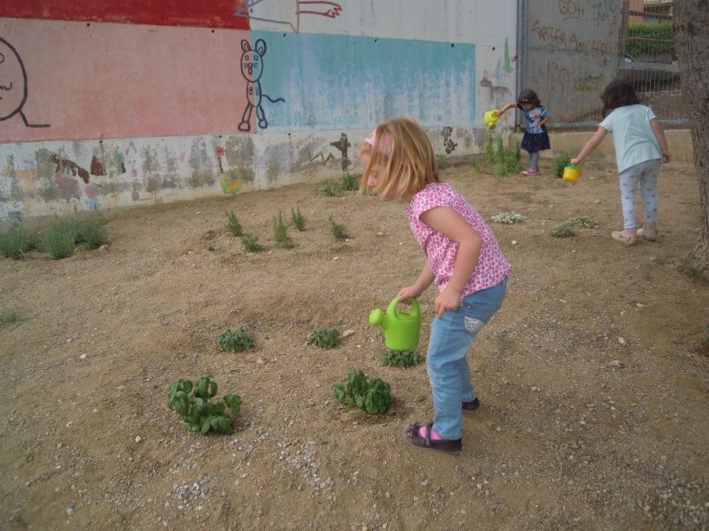 Avui els nens i nenes de P3 hem regat i decorat el nostre jardí