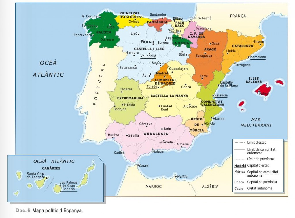 mapa polític Espanya