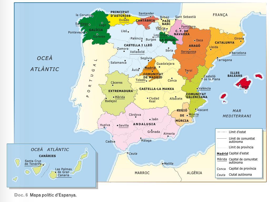 Mapa Interactiu Provincies Espanya.Coneixement Del Medi 6e Unitat 3 Les Comunitats Autonomes D Espanya