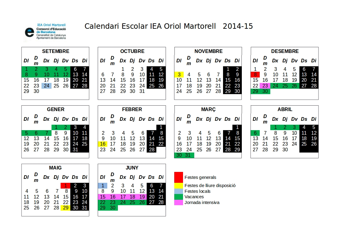 Calendari 2014 - 15