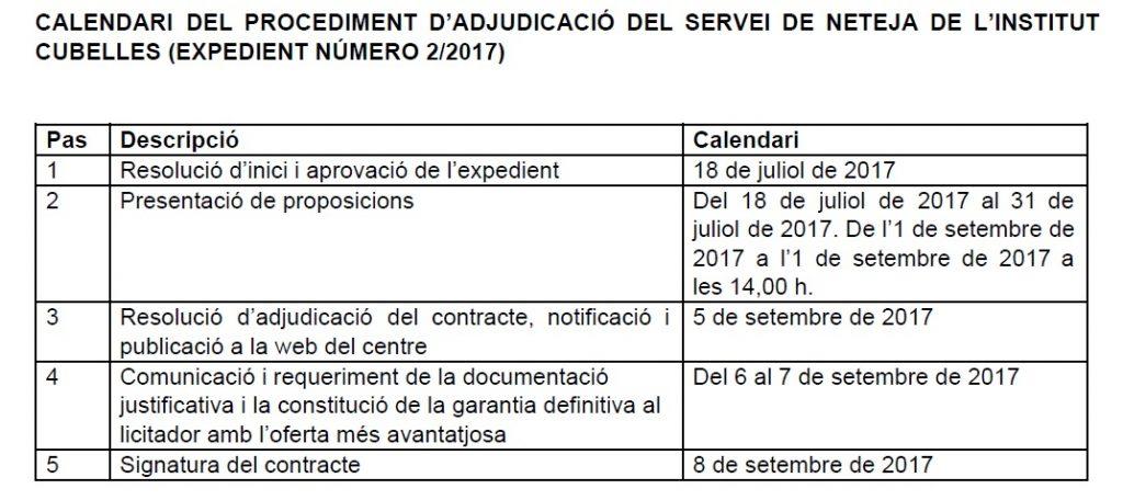 calendari del procediment servei neteja 2_2017