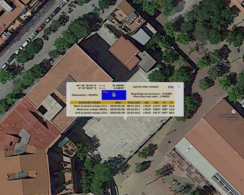 Dades per a l'observació de l'eclipsi solar del 20/03/2015 des de l'institut Sant Andreu de Barcelona