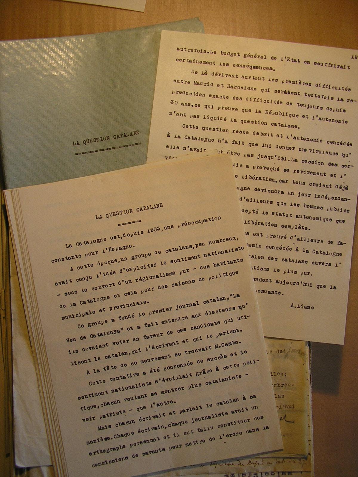 Informe diplomàtic francès sobre Catalunya