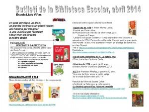 Butlletí Biblioteca Escola Abril 2014