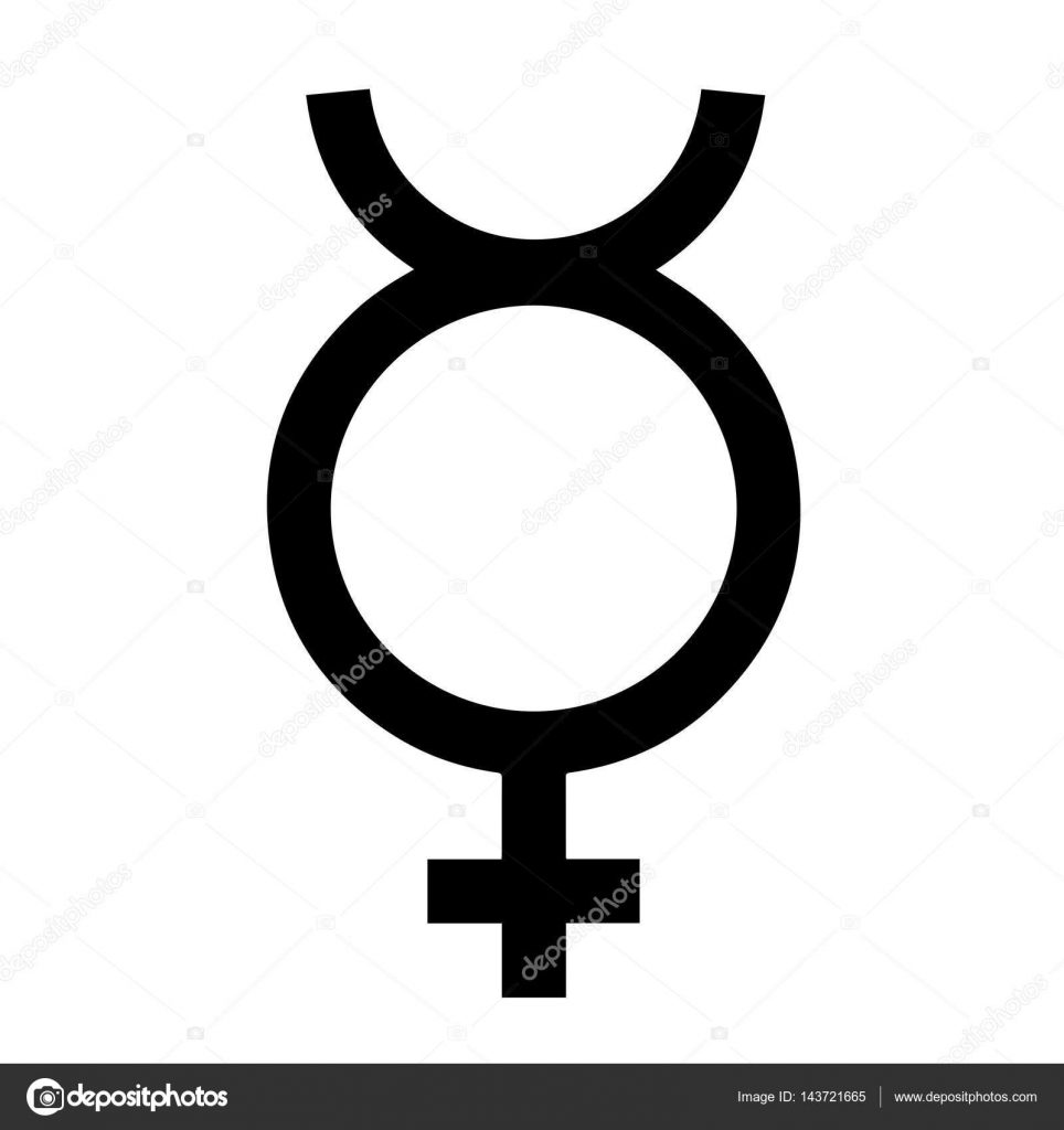 Gender symbol. From the symbol of Mercury. This symbol is used to indicate a virgin female (for example, in genetic analysis). Also used in botany to indicate flower with both male and female reproductive organs. It can even be used as a unisex symbol. Vector Format.