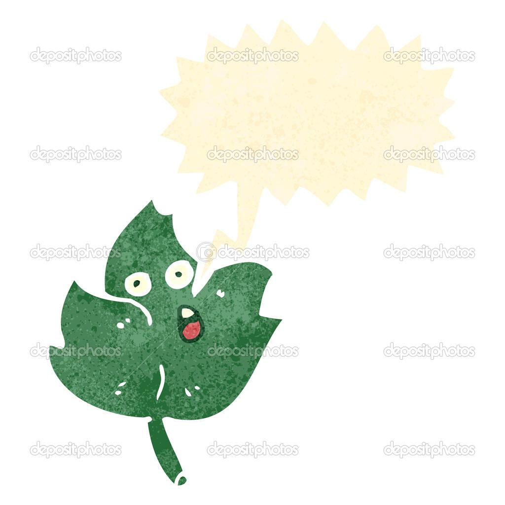 retro cartoon talking leaf