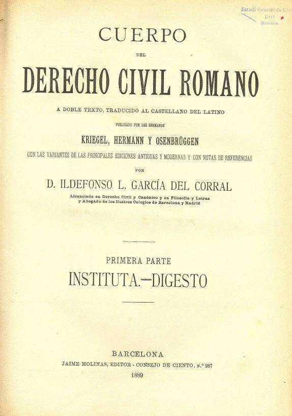 Imatge del codi de dret civil romà