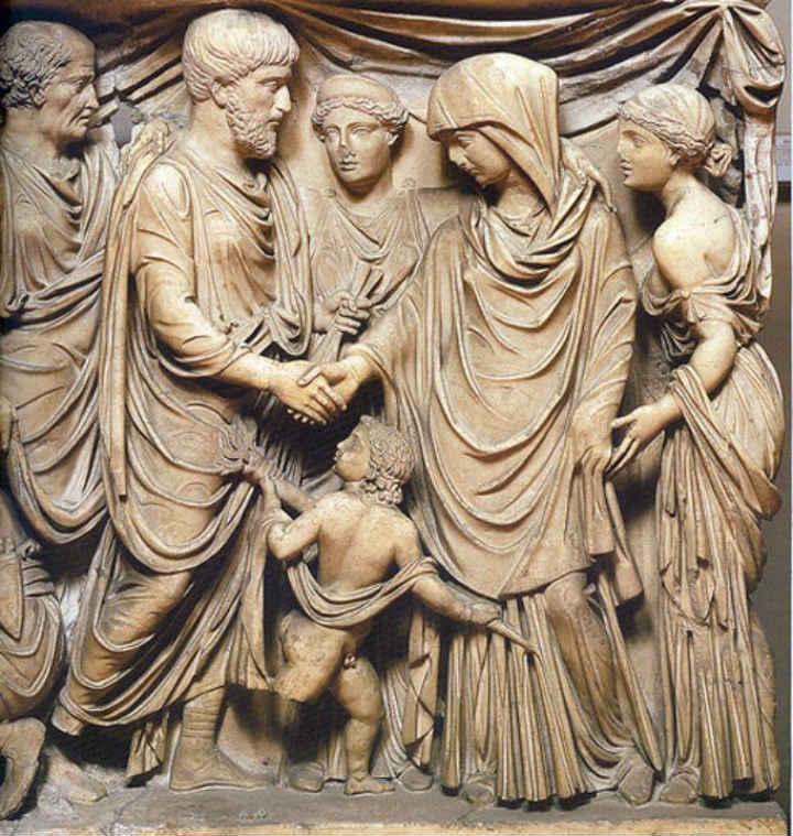 Representació del matrimoni a l'antiga Roma.