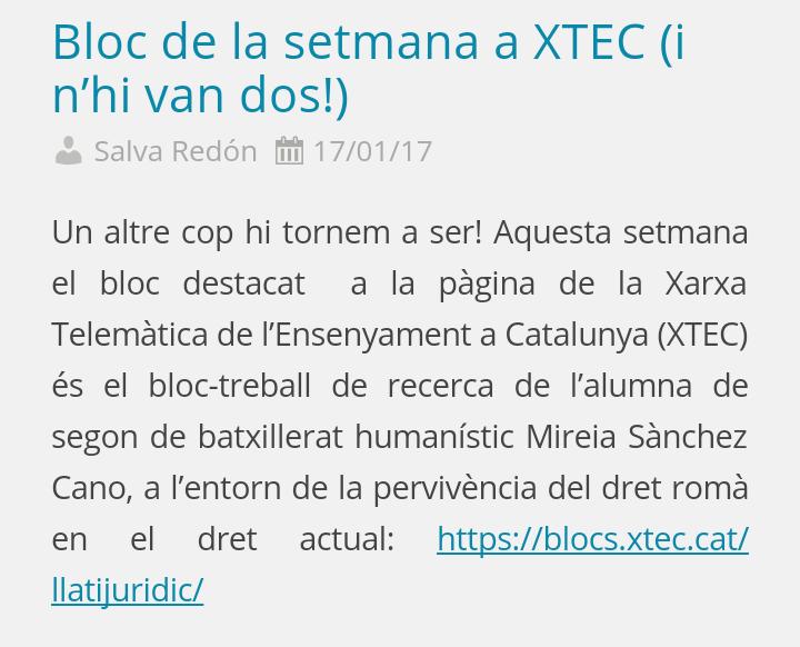 Web de l'institut Premià de Mar fent referència a la publicació del meu bloc-treball de recerca a XTEC.