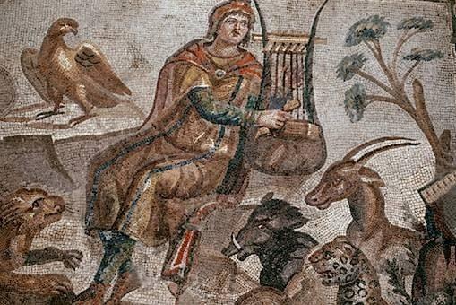 Imatge del personatge Orfeu tocant la lira.