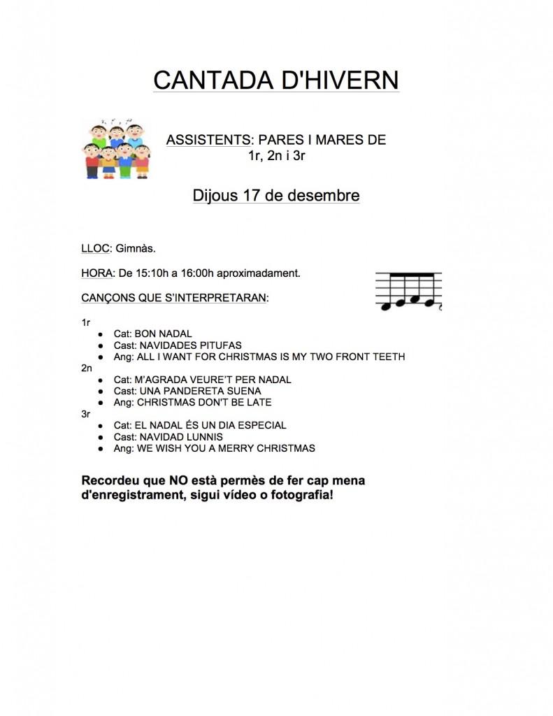CANTADA D'HIVERN 1r, 2n, 3r 2014-15
