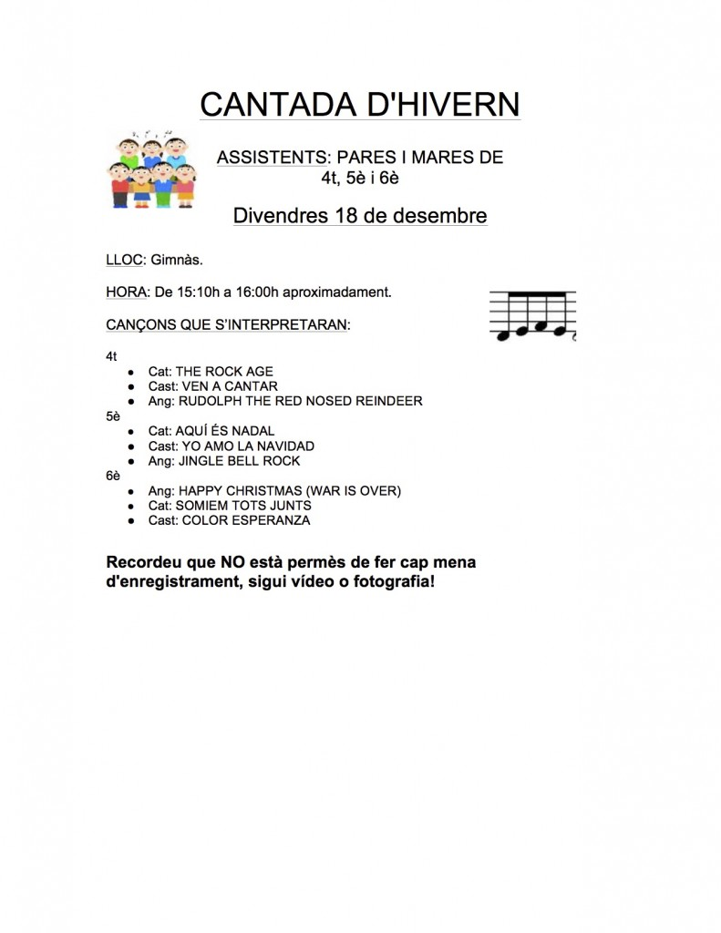 CANTADA D'HIVERN 4t, 5è i 6è 2014-15