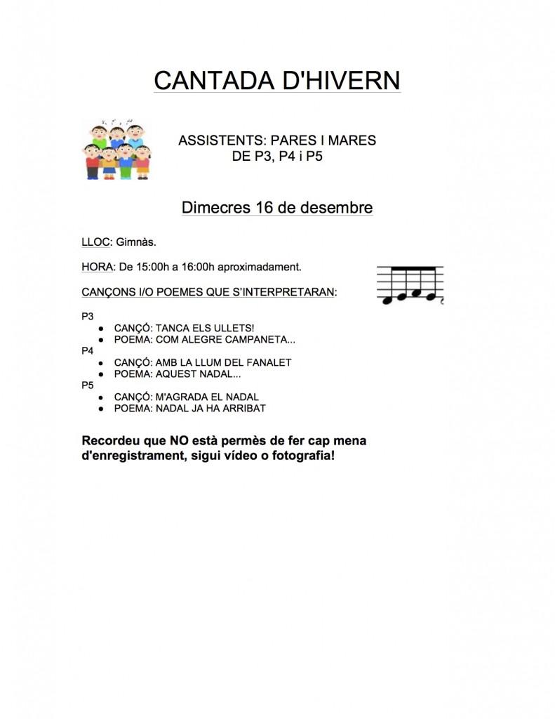 CANTADA D'HIVERN EI 2014-15
