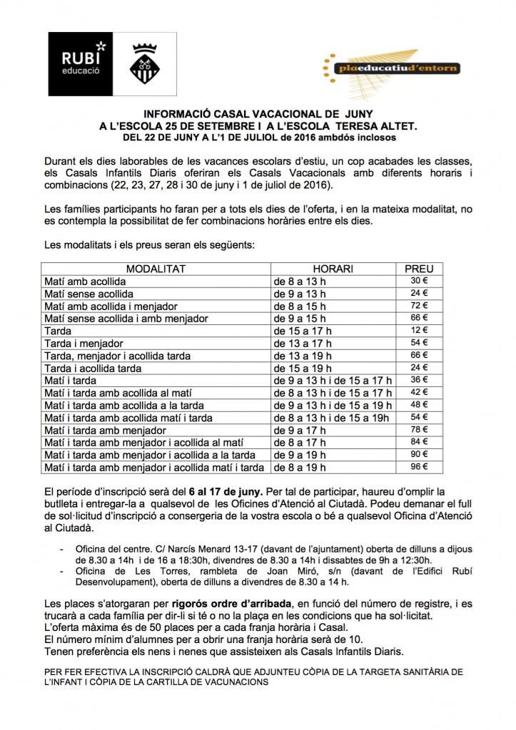 INFORMACIÓ CASAL VACACIONAL JUNY 16