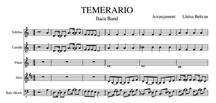 TEMERARIO PARTITURA