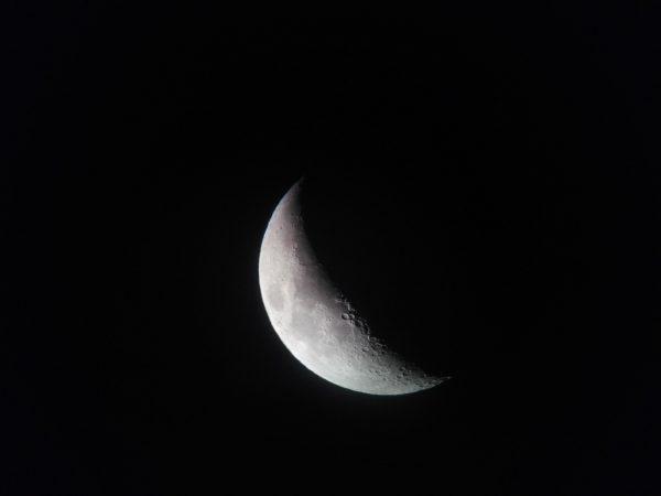 Imatge de Xavier Vilà. Telèfon mòbil sobre ocular. 50 augments. Es poden observar els cràters comentats al centre, prop del terminador.