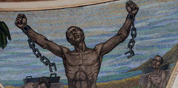 Fragment del mural de la representació de l'abolició a l'interior de la cúpula del Capitoli de Puerto Rico