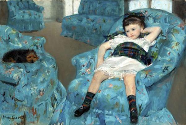 Mary Cassat. Nena en una poltrona blava, 1878