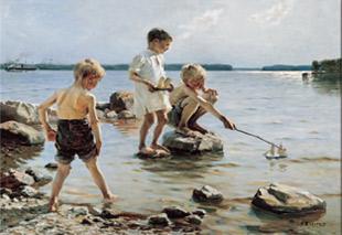 Albert Edelfelt. Nens que juguen a la platja, 1884.