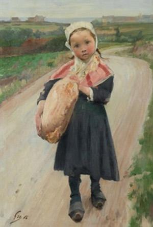 Henry Jules Jean Geoffroy.Nena de Concarneau que va a buscar el pa, 1886.