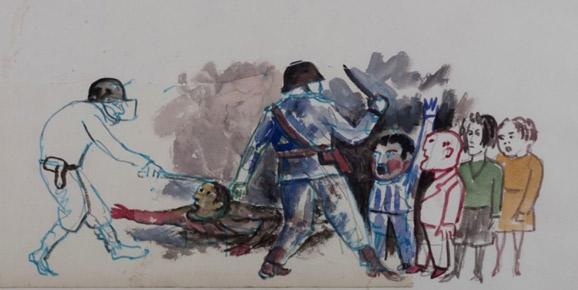 Antonio Berni i Luis E. De Rosa. Part dels dibuixos trobats que retraten la Dictadura. Argentina, 1980