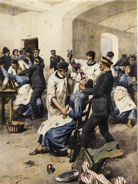 Achille Beltrame. Sufragistes en vaga de fam alimentades per força a la presó, 1913.