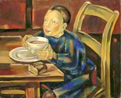 Maria Blanchard. Infant amb una tassa de xocolata, 1929-1930