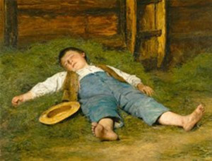 Albert Anker. Nen dormint sobre el fenc, 1897.